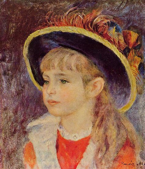 Mary Cassatt Artwork by Young In A Blue Hat 1881 Pierre Auguste Renoir