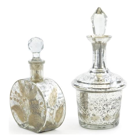 set of two antique mercury glass perfume bottles kathy