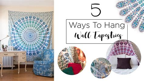 how to hang pictures 5 ways to hang a wall tapestry youtube