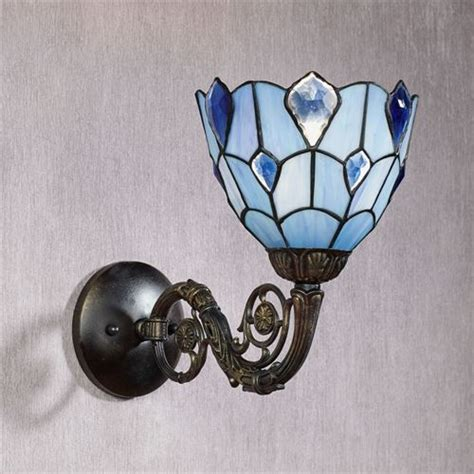 Stained Glass Wall Sconce Gandolf Blue Stained Glass Wall Sconce L