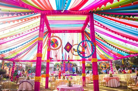 Best Mela Themed Decor for the Mehndi Party. Big Fat Indian Wedding. Colorful Vibrant Fun Mandap