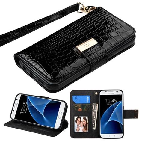 Portable Wallet Leather With Holder Lanyard Sams 2010 samsung galaxy s7 black crocodile embossed wallet cellularcountry
