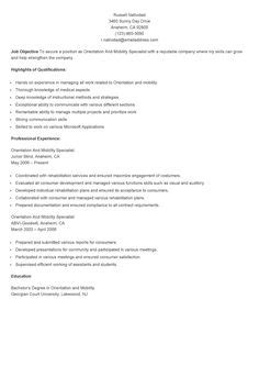 Orientation And Mobility Specialist Sle Resume by Sle Patient Care Specialist Resume Resame Resume Sles And Specialist