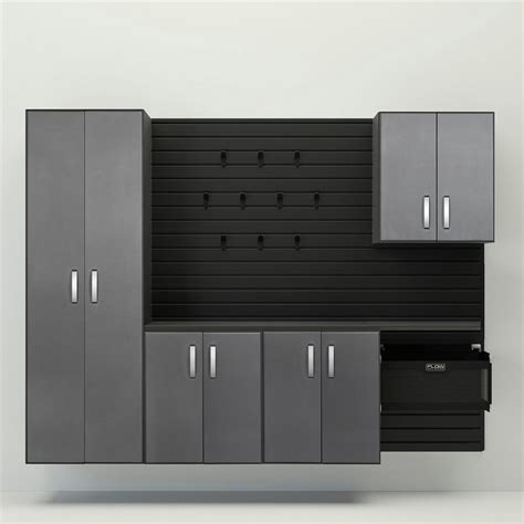 flow wall garage cabinets shop flow wall systems 96 in w x 72 in h black silver