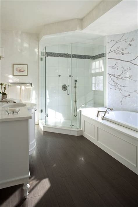 Corner Shower   Transitional   bathroom   Kate Singer Home