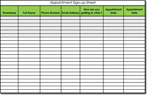 appointment log template signup sheet templates 40 sheets 15 types word excel