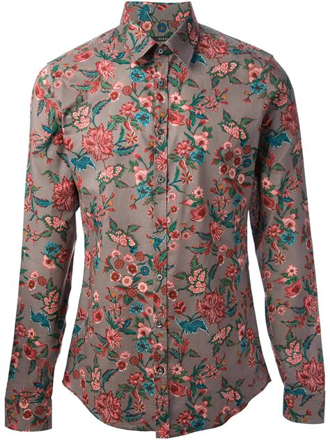 floral print shirt gucci floral print shirt in purple for grey lyst