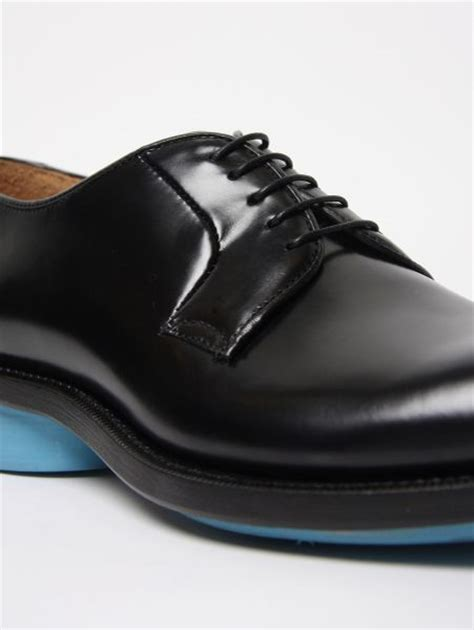 Raf Simons Leather Shoes by Formal Wear Raf Simons Black Leather Shoe W Turquoise Sole In Black For Lyst