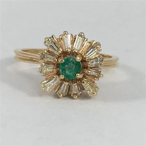 antique emerald and ring 14k yellow gold deco