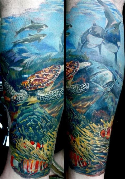 underwater scene tattoo designs theme tattoos underwater sleeve