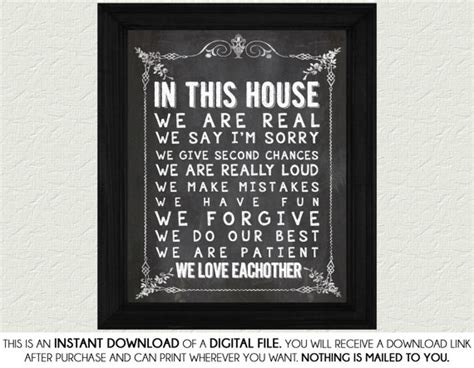 in this house chalkboard home decor print home decor