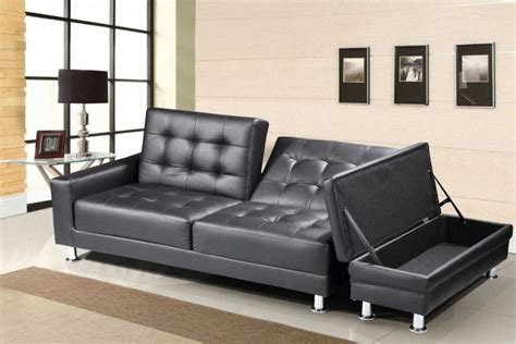 black leather sofa bed with storage sleep design knightsbridge black faux leather sofa bed