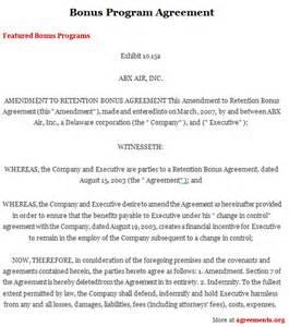 bonus program agreement sample bonus program agreement
