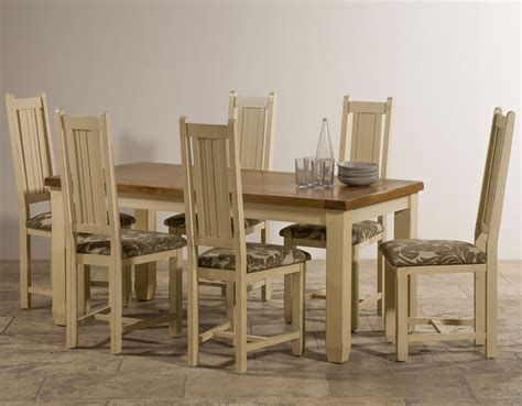 phoenix shabby chic rustic oak and painted dining set 5ft 6 quot table with 6 phoenix shabby chic