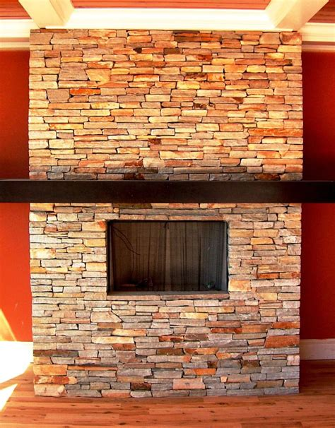Fireplace Stones diy stacked stone fireplace ideas