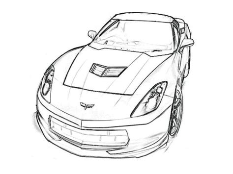 corvette drawings coloring pages