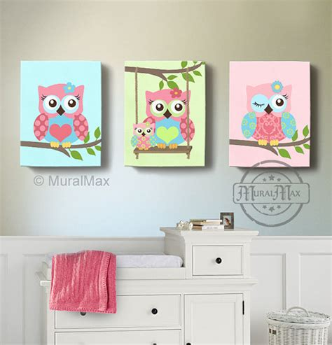 girl room decor owl canvas art baby nursery owl canvas