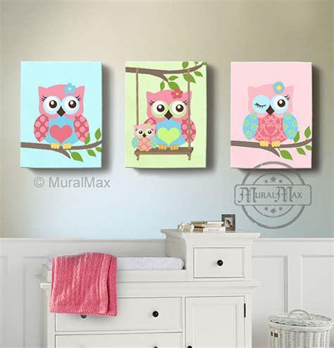 Girl room decor owl canvas art baby nursery owl canvas