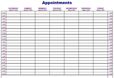 Calendar Template Daily Appointments
