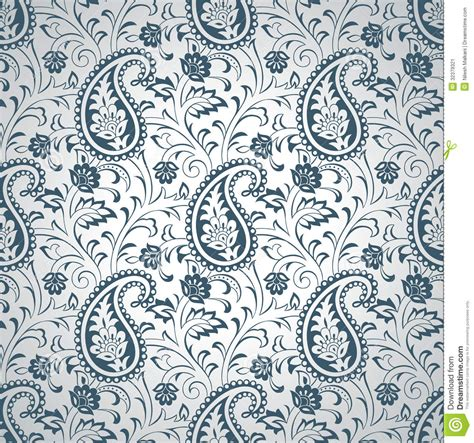 silver seamless paisley wallpaper stock vector