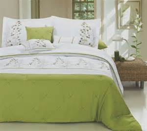 8pc palemo lime green white modern embroidered design
