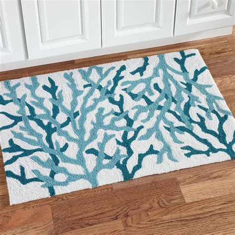 Throw Carpets Cora Blue Coral Coastal Hooked Accent Rug