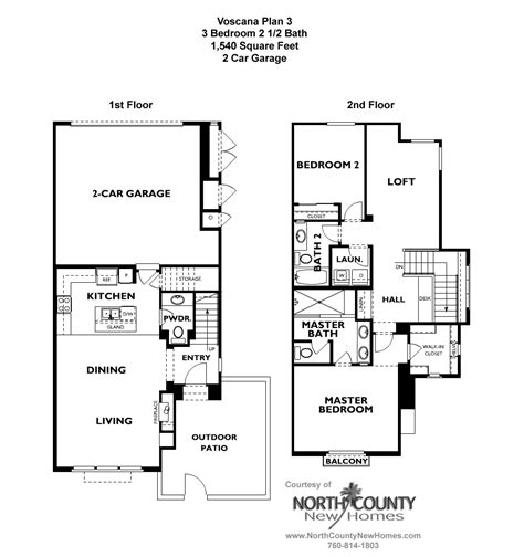 voscana floor plan 3 new townhomes in carlsbad ca by