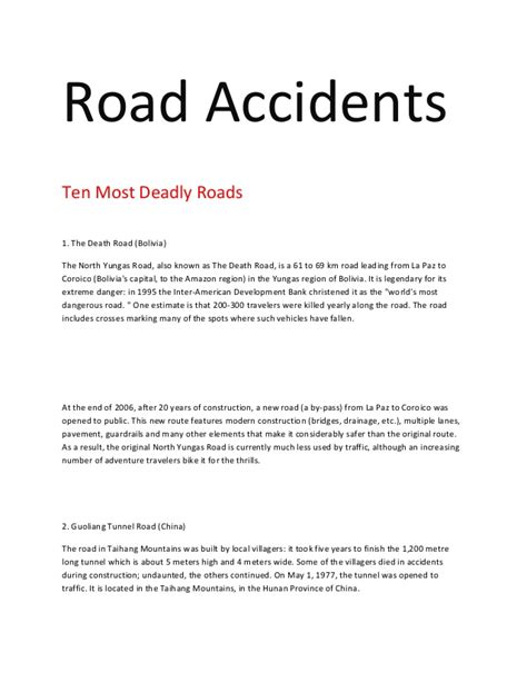 A Road Essay Writing by Road Accidents