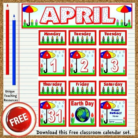 bulletin board calendar template free printable april classroom calendar for school teachers