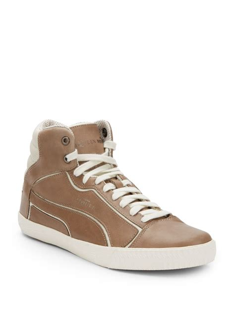 mcqueen mens sneakers mcqueen x leather hightop sneakers in brown