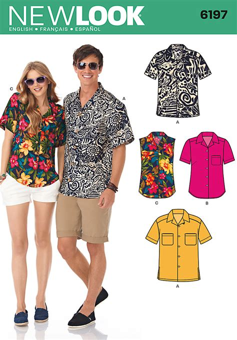 latest pattern of shirt new look 6197 misses and mens shirt