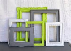 lime green grey white frames set of 6 upcycled frames
