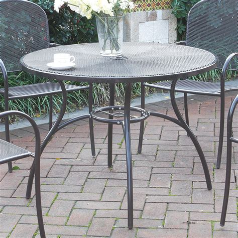 Steel Patio Table Casual Outdoor Patio Garden Yard Dining Table Mesh Metal Top Steel Frame Ebay