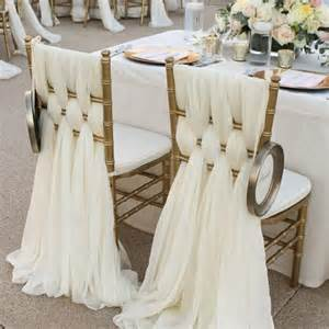 Seat Covers And Sashes Ivory Chiffon Chair Sashes Wedding Deocrations
