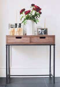 mixed material console table threshold rustic modern