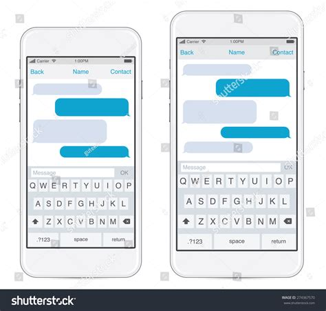 Smartphone Two Sizes Chatting Sms Template Stock Vector 274367570 Shutterstock Iphone Text Template