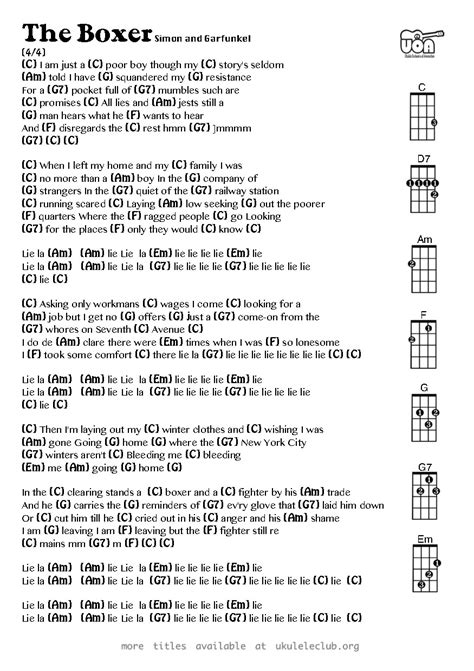 more than friends testo ukulele chords the boxer by simon and garfunkel