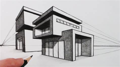 how to design houses how to draw a house in two point perspective modern house youtube