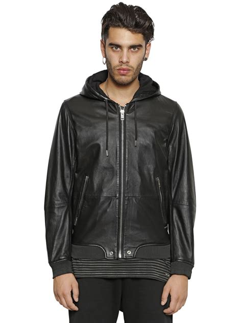 Diesel Leather Black 1 diesel hooded nappa leather bomber jacket in black for lyst