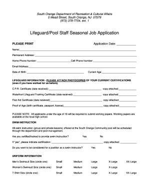 orange julius printable job application fillable online southorange lifeguard pool staff seasonal