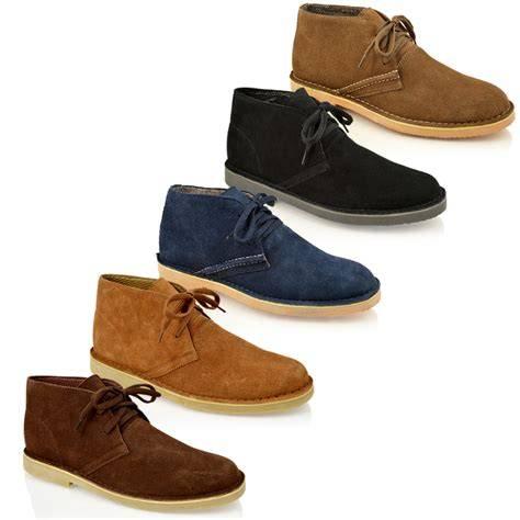 mens leather boots casual mens classic faux suede leather desert chukka casual ankle