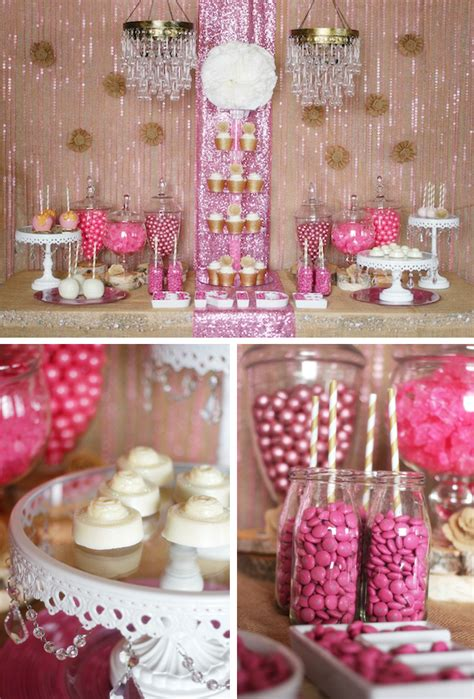 trend alert rustic glam pink gold dessert table