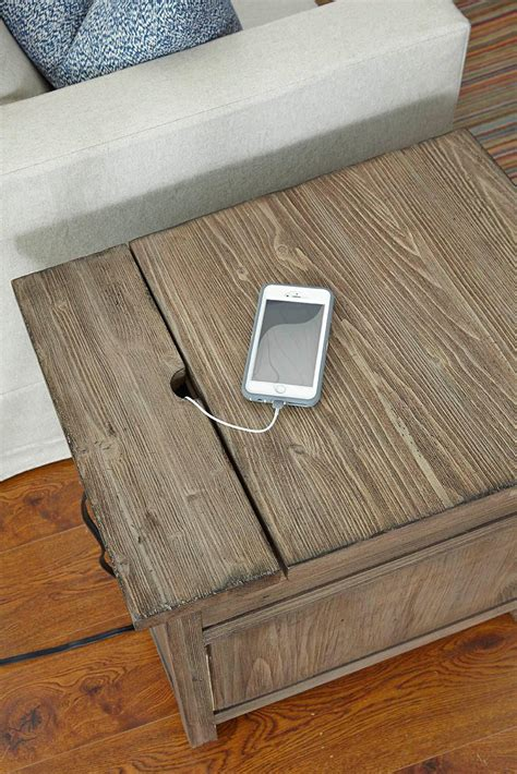 chairside table with charging station foundry rustic weathered gray chairside table with power