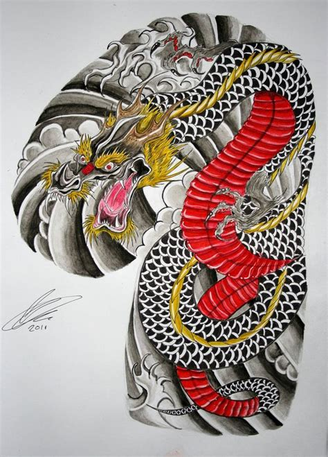 japanese dragon half sleeve and chest panel by