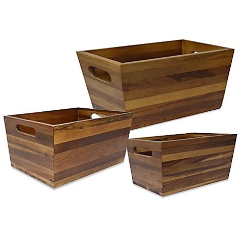bed bath and beyond storage bins flare acacia storage bin bed bath beyond