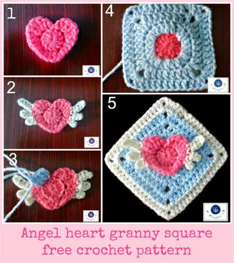 pattern for heart granny square crochet angel heart granny square