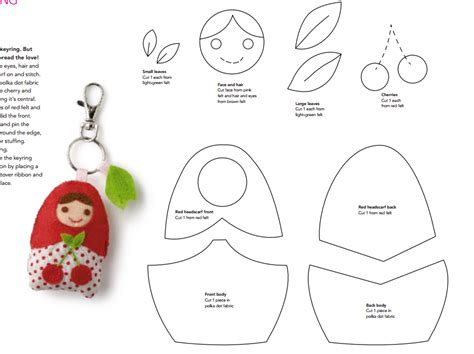 pattern keychain felt mimin dolls sewing patterns template and patterns