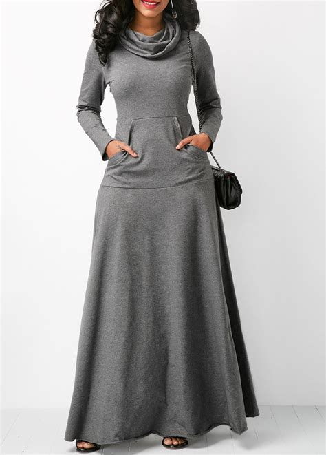 Mint Simple Casual Sale Promo At grey sleeve cowl neck maxi dress rosewe usd 31 88
