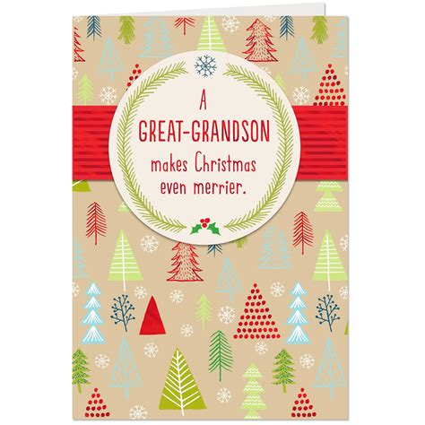 merry trees christmas card  great grandson greeting cards hallmark