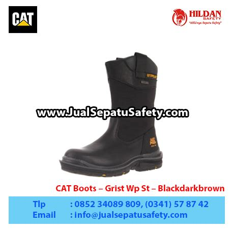 Sepatu Caterpillar Boots Safety Scupa Black 1 cat boots grist wp st blackdarkbrown1